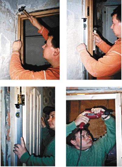 Операции при установке двери: закрепить коробку клиньями; проверить вертикальность; разметить дрелью места крепления